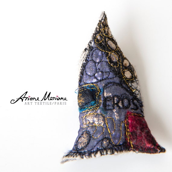 Textile Collage Pin - Mini Art House Brooche -  Felt Embroidery Pin - Original Art - Slow Design - France, Paris