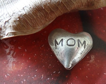 Hill tribe silver bead MOM heart sterling silver bead large heart mothers day gift pendant focal charm primitive finish boho looking bead
