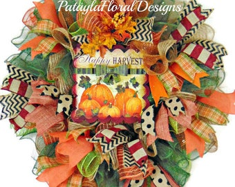 Fall Deco Mesh Wreath, Thanksgiving Wreath, Harvest Wreath, Front Door Wreath, Pumpkin Sign