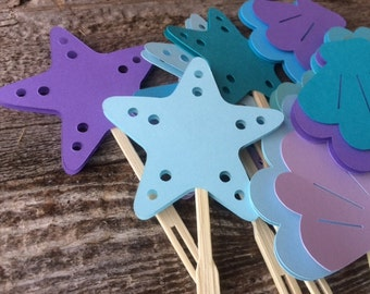 Seashell and Starfish Cupcake Toppers - Mermaid Party, Baby Shower, Birthday Party, Under the Sea Party, Beach Party