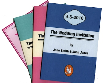 Wedding invitation book style, fully personalised, any title you want, cover plus 4 or 8 pages sample