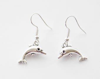 Dolphin Earrings, Silver Dolphin Earrings, Dolphin Jewelry