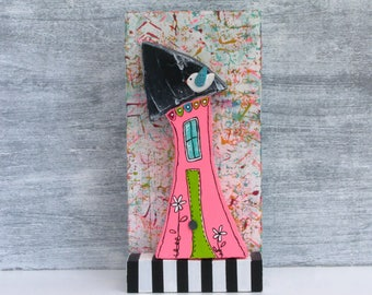 Whimsical Mixed Media Wood House In Neon Pink With Little Bird Cute Shelf Curio Decor For House Collector