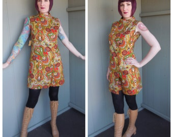 DEADSTOCK Vintage 1960's Psychedelic Paisley Cotton Sheath Dress Skort Romper - size Medium