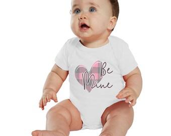 Be Mine Valentine Pink Plaid Heart Baby bodysuit