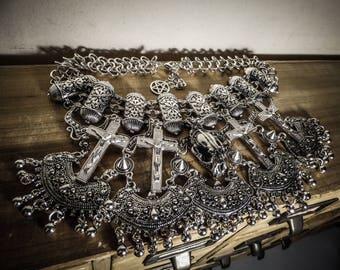 Silver tribal cross Juliette 666 Skullbird 666 necklace