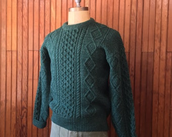 Katahdin Ruggedwear Medium Irish Aran Style Wool Cable Knit Chunky Sweater Fisherman Green Men's Vintage Made In USA