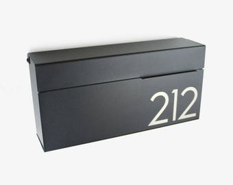 Black laser engraved Modern and contemporary mailbox LOUIS BE, Modern Mailbox, Wall Mounted mailbox - #147be