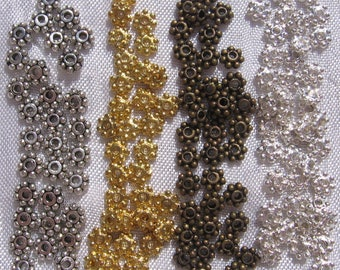 100 spacer caps colors grey metal beads spacers gold gilt bronze 4mm clear silver * S4 * O5 * 7 * S24