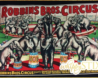 RARE! Vintage Circus Fabric By the Panel, Sherburne Circus by Windham Fabrics and Sherburne Museum 31370, BTP Elephant Ring Master, OOP