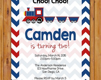 Train Birthday Invite Toddler Party Red Navy Choo Choo Train Turning Two Boys 2nd Birthday Invitation 5x7 Digital JPG (414)