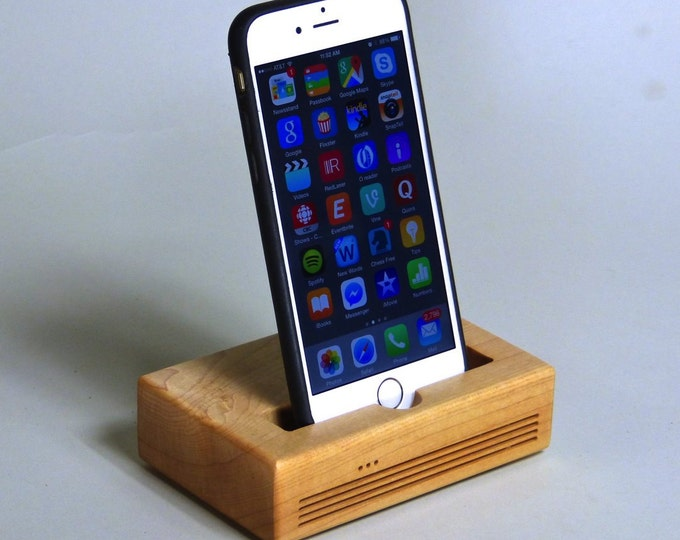 iPhone Plus Docking Station - The CONCERT Acoustic Speaker Dock in MAPLE – Use With or Without a Cover - Amplifies the Sound
