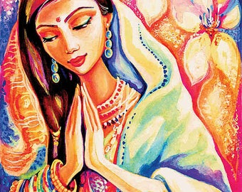 Praying woman painting, pray, spiritual painting, lotus art, inspirational art, wall art, feminine decor, beauty painting print 8x10+