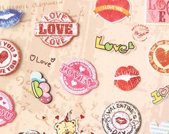 love heart and lip deco sticker - 1 Sheet