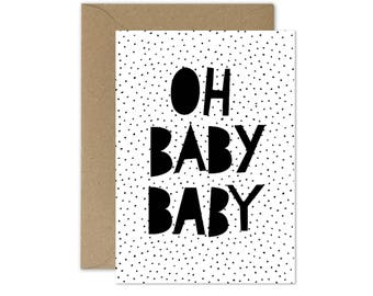 SALE!!! 50%OFF! New baby card, monochrome greeting card for newborn, watercolour, typography, blank card