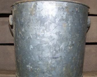 Vintage Galvanized Bucket with Handle Old Metal Pail Rustic Farmhouse Decor Flower Pot