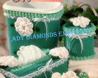Sweet Magnolia Bath Set to Crochet Covers for Wastebaskets Toilet Tanks Tissue Box Tissue Rolls Curtain Tiebacks Rugs Vintage Annies Attic