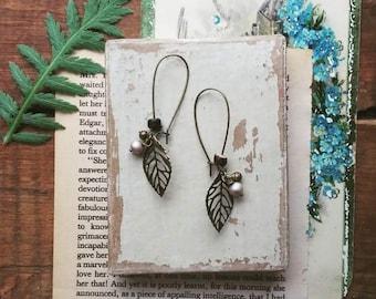 Beaded Leaf Earrings, Long Filigree Leaf Earrings, Dangle Earrings, Bohemian Jewelry for Women