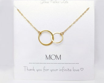 Mom Necklace Personalized, Infinity Necklace For Mom From Daughter, New Mom Push Present Jewelry, Mother of Bride Gift For Mom Wedding