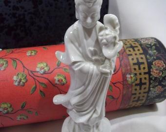 Japanese Blanc De Choe Geisha in Kimono,Vintage White Porcelain Geisha Asian Figurine,Oriental Deco,White Asian Statue