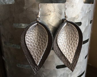 Leather Earrings-Double Leaf Leather Earrings-Joanna Gaines Magnolia Inspired-Gray-Silver-gift