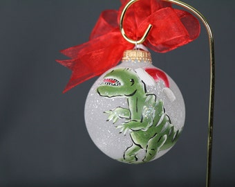 Hand Painted T-Rex Dinosaur Ornament  - Personalized FREE