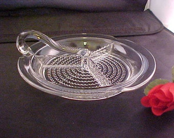 "Vintage Duncan & Miller Teardrop Clear 8 1/2"" Handled 3 Part Relish, Elegant Serving Dish of Depression Era, Collectible Mid Century Glass"