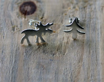 Moose and Christmas Tree Earrings-Moose Studs-Christmas Tree and Elk Studs-Silver Studs-Elk Studs-Moose Charm-Moose-Valentines Day Gift