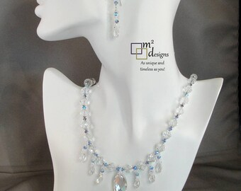 Crystal Necklace and Earring Matching Jewelry Set, Unique Handmade Jewelry for Women, Trendy Original One of a Kind Gift Ideas for Her