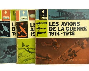 Vintage Marabout Flash Airplane Illustration Books by Andre Pernet. WW2 Aviation Plane Collectible. Military Gifts for Him Volume 85, 86, 87