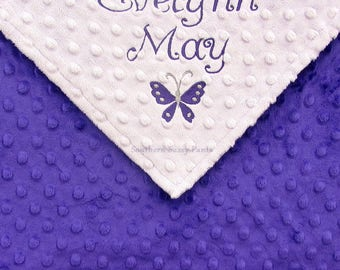 Purple Baby Blanket, Monogram Minky Blanket for Baby Girl, Personalized Gift for New Baby Girls, Custom Embroidery, Butterfly or Anything