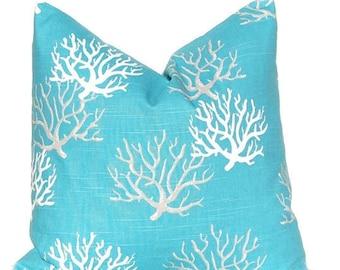 Throw Pillow Cover - Coastal Blue Pillow Cover - Turquoise Pillow Cover - Decorative Pillow Cover - Nautical Decor - Beach Decor