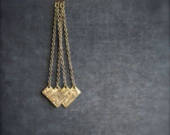 Chevron Point Dangle Earrings - Etched Brass, Gold Brass Chain, Long Drop Earrings, ZigZag Arrow, Geometric Boho Jewellery