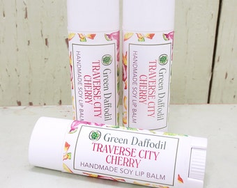 Traverse City Cherry Soy Lip Balm Tube- Vegan - Green Daffodil