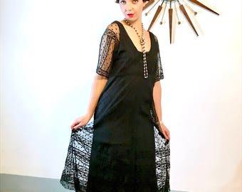 Black lace dress, Vintage 20s Dress, Drop Waist Dress, Sheer lace sleeves, Roaring 20s dress, 1920s Dress, 1920s Flapper dress, 20s dress