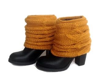 Mustard Boot Cuffs Leg Warmers Knit Socks Boot Covers Cable Knit Boot Socks Boot Toppers Yoga Winter Accessories Gifts For Her senoaccessory