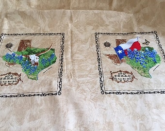 Texas Panel Longhorns Bluebonnets Armadillo Lone Star State Cowboy Boots Cattle Texas Icons from Moda Fabrics
