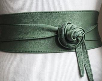 Green Leather Obi Belt | Waist Cincher Belt | Corset Leather Belt| Plus Size Belt | Wrap Belt