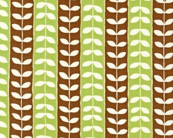 1 Yard Monaluna MINGLE LEAF STRIPES Pistashio Brown Leaves Rows Robert Kaufman Quilting Sewing Fabric