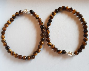 Beaded bracelet Tiger eye in 21 cm