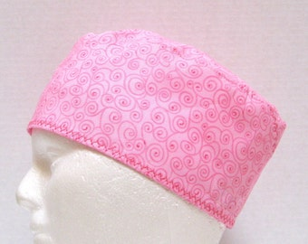 Pink Scrub Hat, Surgical Cap or Chemo Hat with Dark Pink Swirls
