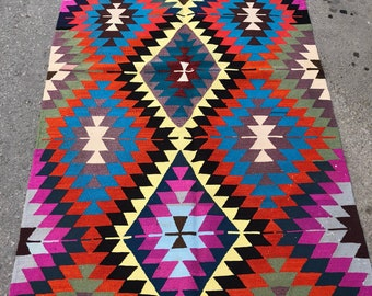 "98"" x 52"" antalya nomad rug, area rug , area kilim , kilim oerlon kilim , colorfull kilim"