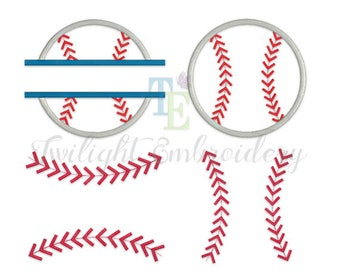 Set of 3 Baseball Embroidery Designs, Baseball Applique Designs, Baseball Stitches Embroidery Designs, Baseball Laces Embroidery Design 0005