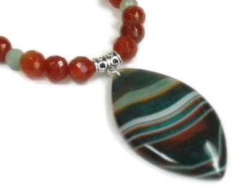 Carnelian Necklace, Carnelian Jewelry, Rare Banded Agate Pendant, Green, Burnt Orange Gemstones, Boho, Bohemian, Southwest, Natural
