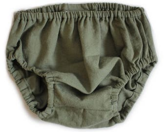 Olive Baby Bloomers, olive diaper cover, baby diaper cover