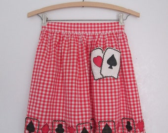 Vintage Apron Hostess Red and White Gingham Playing Cards Pocket