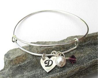 Custom Charm Bracelet, Mothers Bracelet, Personalized Bridesmaid Gift, Adjustable Bangle