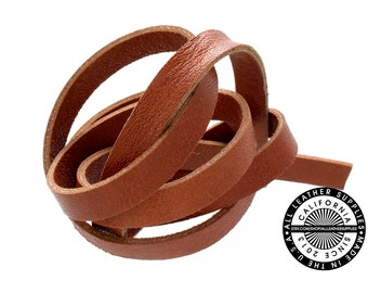 """Genuine Leather Strap, Double sided leather,  Brick Orange, 6mm (1/4"""" inch) 3 yards (108"""" inches)  (1714)"""