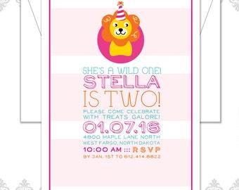 Wild One Birthday Party Invite, Lion Birthday Invitation, Safari Party, Two year old Birthday Invite, Lion Party, Wild Animal, Safari Party