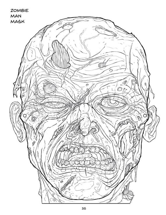 Imagen de Zombie hombre máscara para colorear 85 x 11